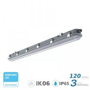 Oprawa Hermetyczna LED V-TAC SAMSUNG CHIP M-SERIES 36W 120cm 120LM/W CL SS Clip VT-120136 6400K 4320lm 3 Lata Gwarancji