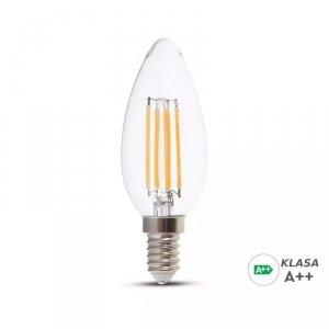 Żarówka LED V-TAC 6W Filament E14 Świeczka A++ Przeźroczysta VT-2327 3000K 800lm