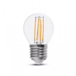 Żarówka LED V-TAC 6W Filament E27 Kulka G45 Przeźroczysta VT-2366 2700K 600lm
