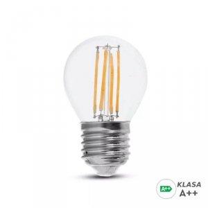 Żarówka LED V-TAC 6W Filament E27 Kulka G45 A++ Przeźroczysta VT-2386 4000K 800lm