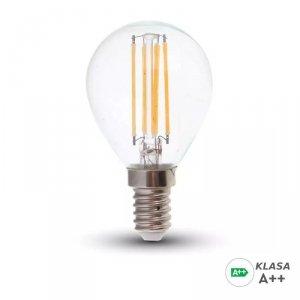 Żarówka LED V-TAC 6W Filament E14 Kulka P45 A++ Przeźroczysta VT-2486 6400K 800lm