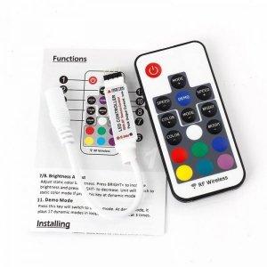 STEROWNIK RADIOWY RF RGB DO TAŚM LED RGB 17 przycisków