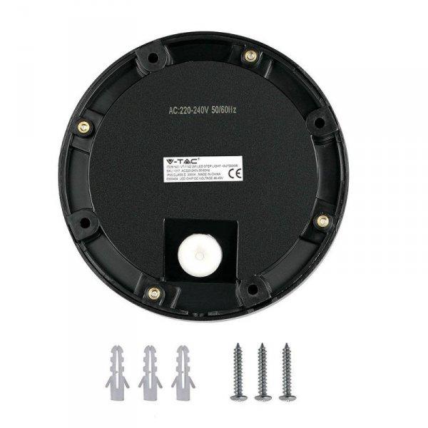 Oprawa Schodowa 2W LED V-TAC Czarna Okrągła 230V IP65 VT-1142 3000K 60lm