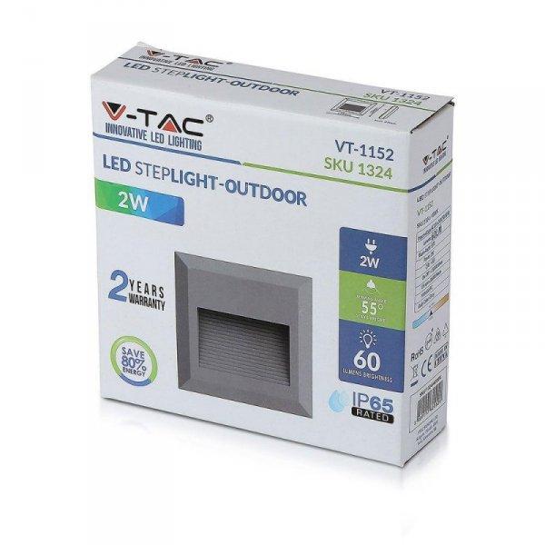 Oprawa Schodowa 2W LED V-TAC Szary Kwadrat 230V IP65 VT-1152 4000K 60lm