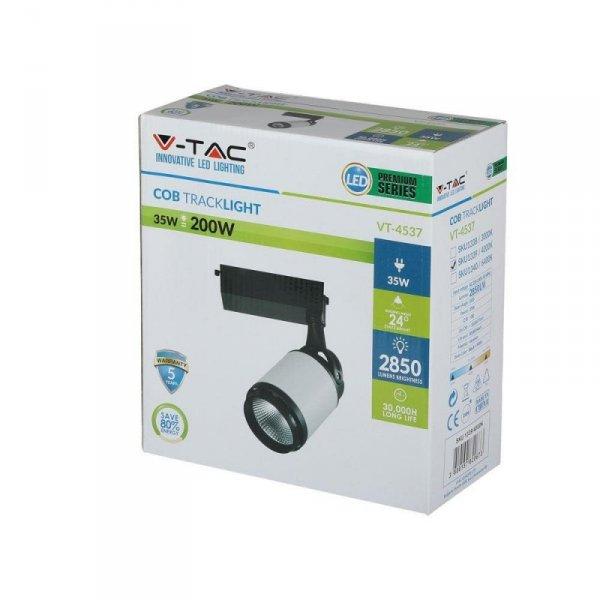 Oprawa Track Light LED V-TAC 35W 24st LED Czarny Biały VT-4537 4000K 2850lm
