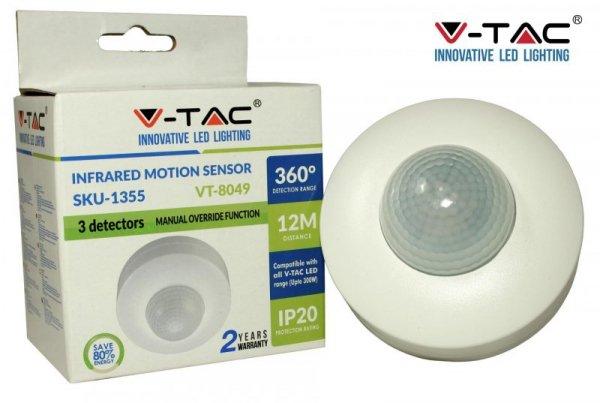 Czujnik Ruchu 360st z funkcją On/Off Sufitowy Biały V-TAC VT-8049