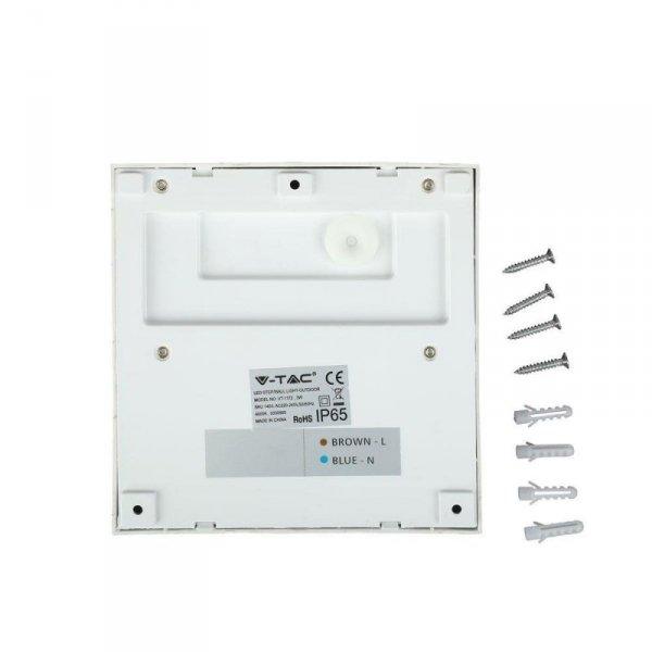 Oprawa Ścienna Elewacyjna 3W LED V-TAC Biały Kwadrat 230V IP65 VT-1172 3000K 210lm