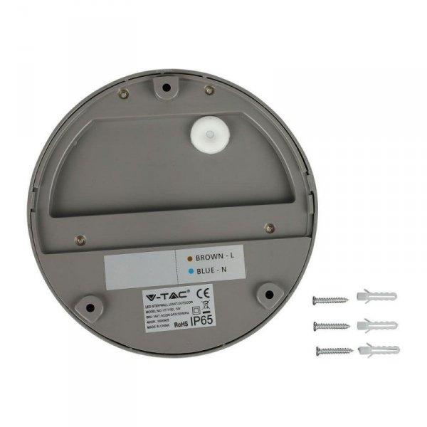 Oprawa Ścienna Elewacyjna 3W LED V-TAC Szara Okrągła 230V IP65 VT-1182 3000K 210lm