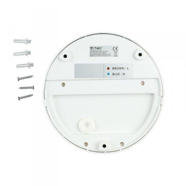 Oprawa Ścienna Elewacyjna 3W LED V-TAC Biała Okrągła 230V IP65 VT-1182 3000K 210lm