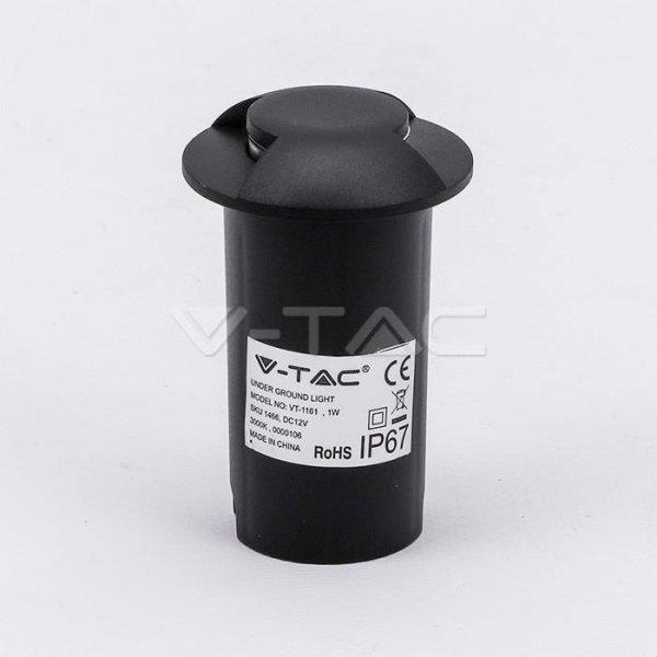 Oprawa Gruntowa 1W LED Czarna 2-stronna IP67 VT-1161 3000K 10lm