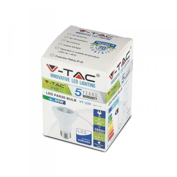 Żarówka LED V-TAC SAMSUNG CHIP 7W E27 PAR20 VT-220 4000K 495lm 5 Lat Gwarancji