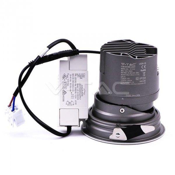 Oprawa LED Downlight V-TAC 15W COB CREE CRI95+ UGR19 24st VT-2916 3000K 1000lm 5 Lat Gwarancji