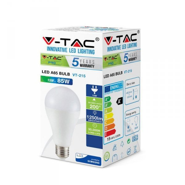 Żarówka LED V-TAC SAMSUNG CHIP 15W E27 A65 VT-215 6400K 1250lm 5 Lat Gwarancji