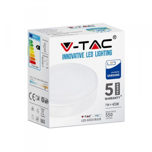 Żarówka LED V-TAC SAMSUNG CHIP 7W GX53 7W GX53 VT-207 6400K 550lm 5 Lat Gwarancji