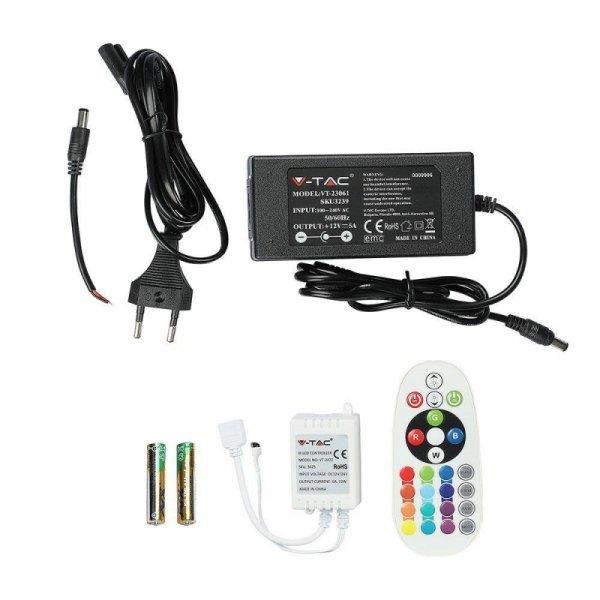 Taśma LED V-TAC Zestaw Taśma Zasilacz Pilot Sterownik RGB 1000lm