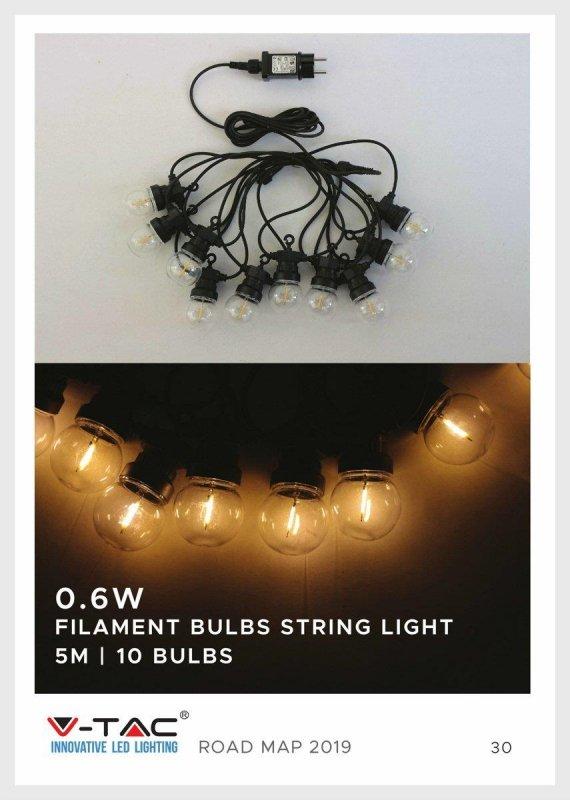 Girlanda Ogrodowa V-TAC (sznur) 6W LED 5 metrów 10 żarówek 0,4W Filament VT-71510 3000K 350lm