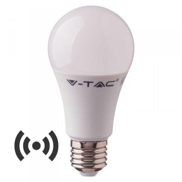Żarówka LED V-TAC 9W E27 A60 Czujnik Mikrofalowy VT-2219 3000K 806lm