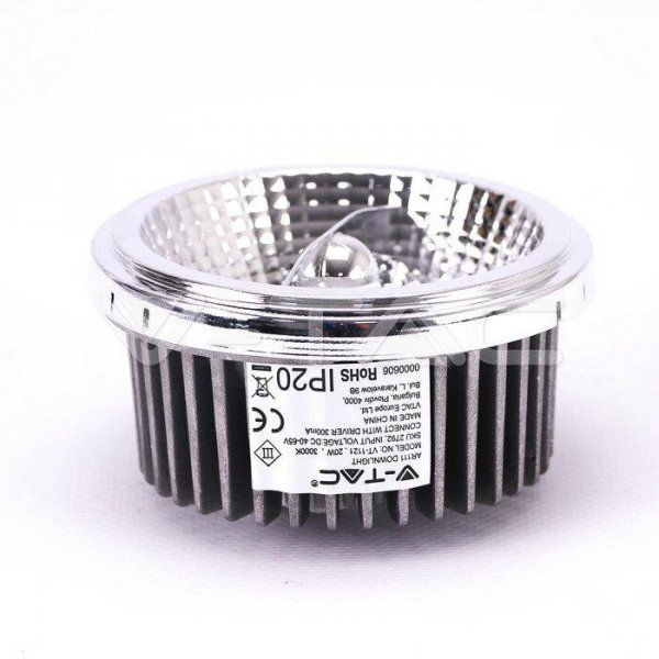 Żarówka LED V-TAC 20W G53 AR111 Wymienny reflektor 40st/20st VT-1121 3000K 1800lm
