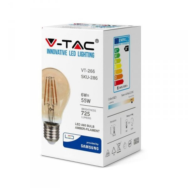 Żarówka LED V-TAC SAMSUNG CHIP 6W E27 Filament A60 Bursztyn VT-266 2200K 725lm 3 Lata Gwarancji