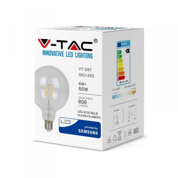 Żarówka LED V-TAC SAMSUNG CHIP 6W E27 Filament G125 VT-287 2700K 806lm 3 Lata Gwarancji