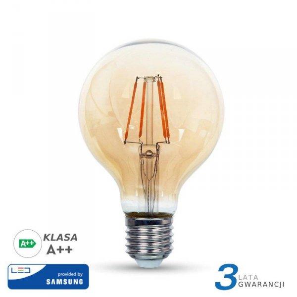 Żarówka LED V-TAC SAMSUNG CHIP 6W E27 Filament G95 Bursztyn VT-296 2200K 725lm 3 Lata Gwarancji