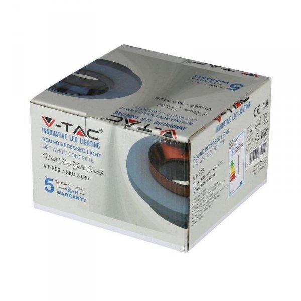 Oprawa Oczko V-TAC GIPS BETON GU10 Okrągła Wpuszczana Biały/Chrom VT-862 5 Lat Gwarancji