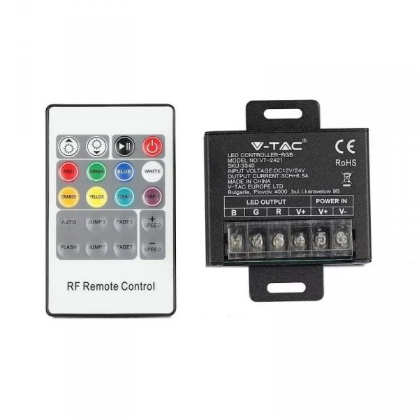 Sterownik Taśm LED RGB Radiowy Micro 12V/24V 240W/480W V-TAC VT-2421
