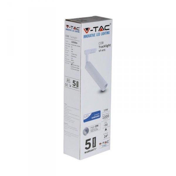 Oprawa 15W LED V-TAC Track Light SAMSUNG CHIP CRI90+ Biała VT-415 5000K 1200lm 5 Lat Gwarancji