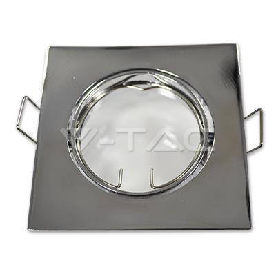 Oprawa Oczko V-TAC GU10 Kwadrat Ruchoma Chrom VT-779