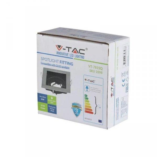 Oprawa Oczko V-TAC Aluminiowa GU10 Kwadrat Satyna/Czarna VT-781
