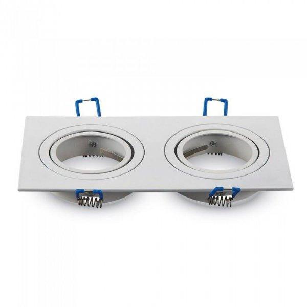 Oprawa Oczko V-TAC Aluminiowa Odlew 2xGU10 Kwadrat Biały VT-783