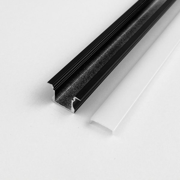 Profil LP-G czarny wpuszczany 1m kpl. klosz zaślepki uchwyty