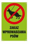 Tablica ze słupkiem - Zakaz wprowadzania psów