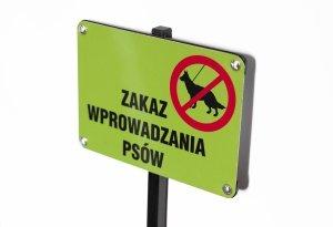 Tablica ze słupkiem - Zakaz wprowadzania psów- mini