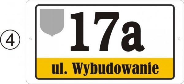 Tabliczka adresowa z herbem 40cm x 21,4 cm (odblask)