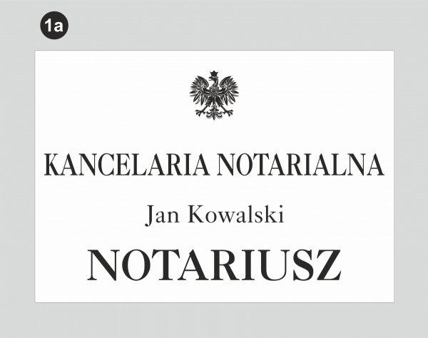 Tablica dla kancelarii notarialnej wzór 1a