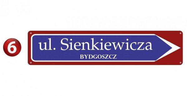 Kierunkowa tablica z nazwą ulicy 75/16,5cm (odblask)