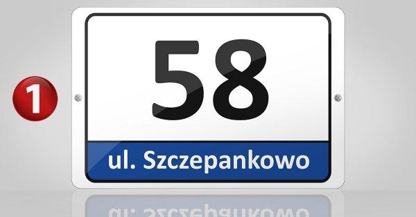 Tablica adresowa, odblaskowa 30cm x 20cm