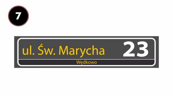 Tablica z nazwą ulicy odblaskowa