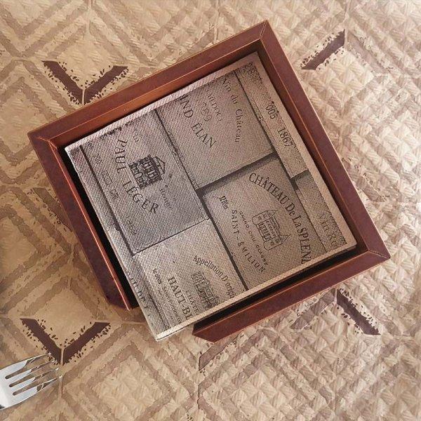 Dyspenser do serwetek 20x20 1/4, drewniany madera, 1 szt
