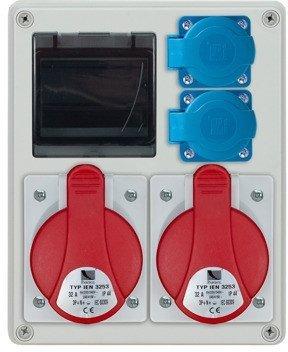 Rozdzielnica R-BOX 240 4S, 2x32A/5p, 2x230V, puste okno, IP44
