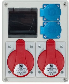 Rozdzielnica R-BOX 240R 4S, 2x32A/5p, 2x230V, puste okno, IP 44