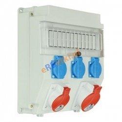Rozdzielnica R-BOX LUX-320, 1x16A/5P ,1x32A/5p, 3x230V zabezp. 1xM.01-B32/3, 1xM.01-B16/3, 3xM.01-B16/1, 1xM.02-4/40/0,04, IP 44