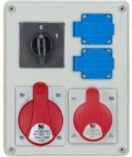 Rozdzielnica R-BOX 240 1x16A/5p, 1x32A/5p, 2x230V, wył. (0/1), podstawa stalowa (komplet 2 szt.), IP44