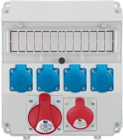 Rozdzielnica R-BOX LUX 320 1x32A/5p, 1x16A/5p, 4x230V, puste okno, IP 44