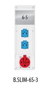 Rozdzielnica R-BOX SLIM 6S 1x16A/5p, 2x230V, IP44