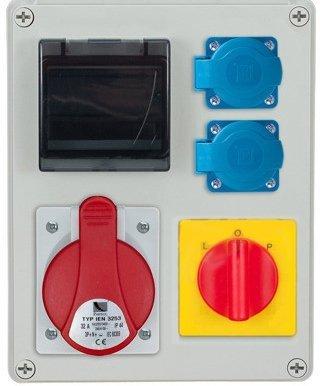 Rozdzielnica R-BOX 240R 4S 1x32A/5p, 2x230V, (L/P)zabezp. 1xM.01-B32/3, 1xM.01-B16/1, IP44