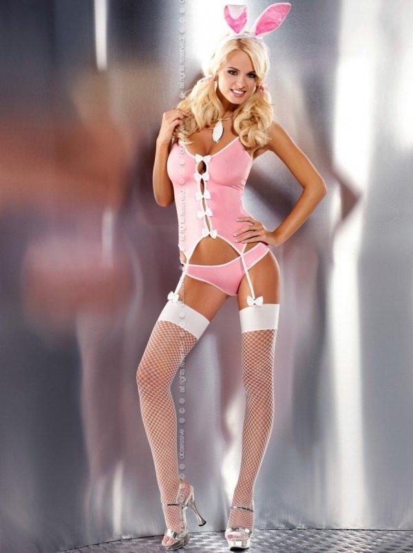 Bunny suit kostium 4-częściowy różowy rozm. XXL