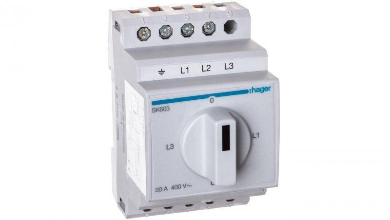 Przełącznik amperomierza 4-pozycyjny 20A 400V SK603