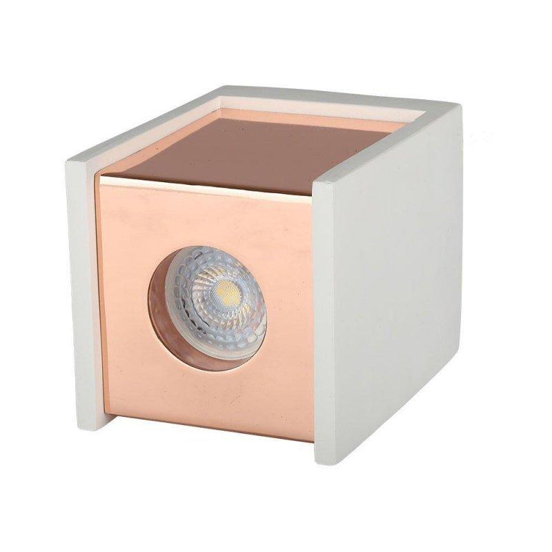 Oprawa V-TAC GIPS BETON GU10 Natynkowa Kwadrat Biały/Różowe Złoto VT-860 5 Lat Gwarancji
